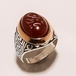 Sterling Silver Red Onyx Ring 13.17