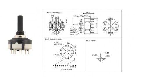 Rotary Switch 150ma, 250v Ac 1,2,3,4 Pole, Rotation Switch, Rotor ...