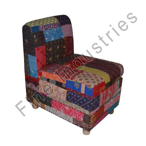 Kantha Fabric Single Seater Sofa