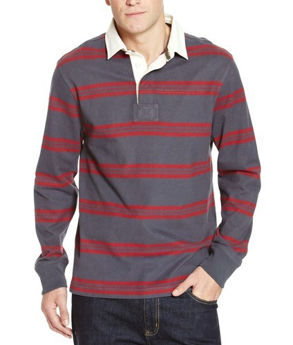 Mens Striped Rugby Polo Shirt