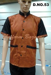 Brown Colour Restaurant Uniforms With Black Borders