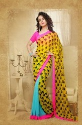 Yellow Color Faux Georgette Designer Printed Saree