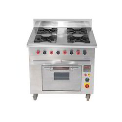 Silver Stainless Steel Four Burner Gas with Oven, For Commercial, Size: Standard