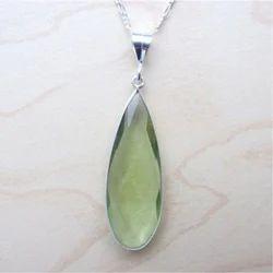 Green Amethyst Quartz Silver Gemstone Necklace