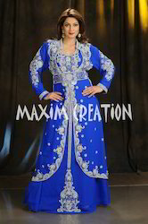 Georgette Royal Blue Embroidered Christian Wedding Gown