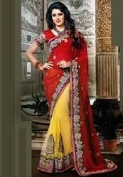 3beae3d764 Red and Yellow Faux Georgette and Net Saree with Blouse - Rathi ...