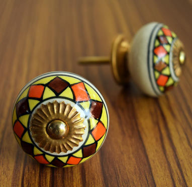 Beautiful Hand Painted India Ceramic, Hand Painted Ceramic Cabinet Knobs