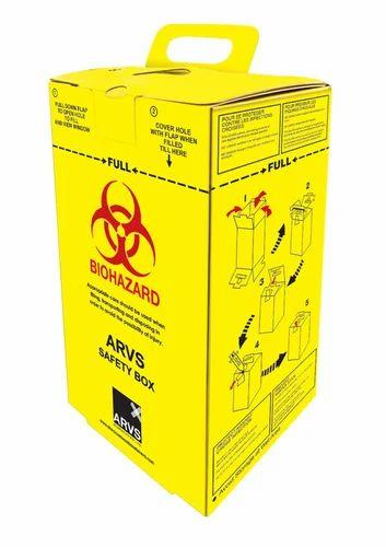 Yellow   Blue Cardboard Box For Sharp Waste