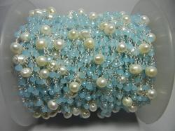 Aqua Chalcedony with Pearl Bead Gemstone Rosary Chain