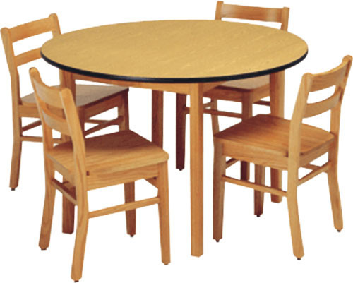 Vishvas Wooden Cafeteria Table & 4 Chairs, Table Top Material : Wooden