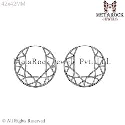 Pave Diamond Hoop Earrings