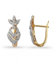 Leaf Design Diamond Earrings