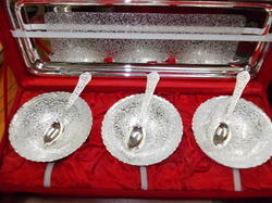 Silver Plated Tray with 3 Bowls