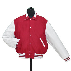 Scarlet White Retro Collar  Varsity
