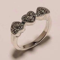 Solid Sterling Silver Marcasite Gemstone 3 Heart Fine Design