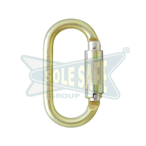 KARAM Quarter Turn - Locking Steel Karabiner, Silver/ Golden Yellow Galvanized