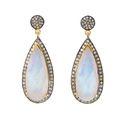 Rainbow Moonstone Pave Set Gemstone Earrings