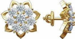 Rhodium Plated Diamond Gold Stud Earrings