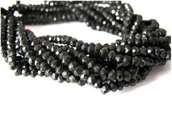 Black Onyx Faceted Roundels 3-4mm Gemstone Bead Strands