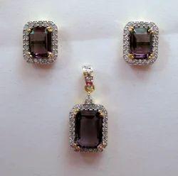 Cubic Zirconia Color Stone Pendant Set