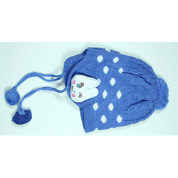Kids Blue Winter Skull Cap