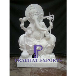 Marble Ganesha Statue With Base