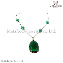 Emerald Gemstone Silver Chain Necklace