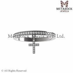 Silver Diamond Ring Cross Jewelry
