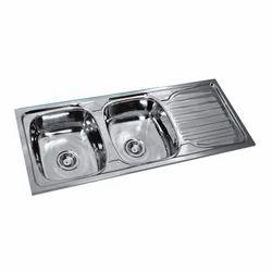SS Navkar Double Bowl Single Drain Kitchen Sink, Packaging Type: Carton
