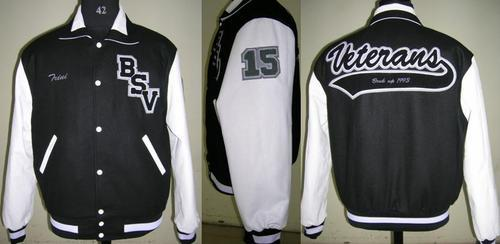 Caliber India Black White Customized Wool Body With Leather Sleeves College Varsity