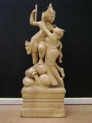 Radha Krishna Wooden Statue