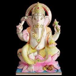 Marble Ganesha On Lotus