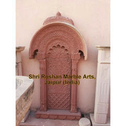 Pink Sand Stone Carved Window