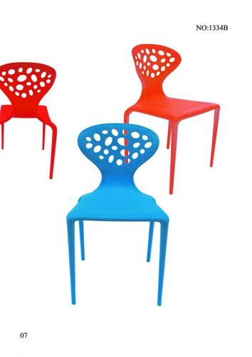 Plastic Blue and Red Food Court Chairs