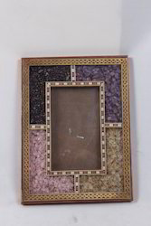 Teak Wood Gem Stones Photo Frame