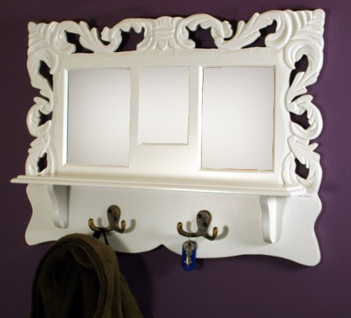 Wooden Wall Shelf With Hooks/mirror/photo Frames - Shah Kreations ...