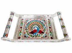 Peacock Designed Meenakari Tray