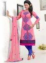 Charming Pink Cambric Cotton Churidar Suit