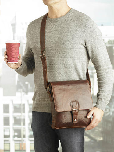 Leather Bags Mens Small Messenger Cross Body Bag