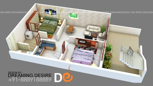 3d elevation of row house - interior floor plan service provider