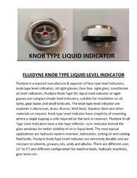 Fluidyne Knob Type Liquid Level Indicator