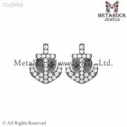 Pave Diamond Anchor Shape Earring Jewelry