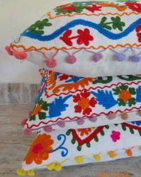 Suzani Sofa Cushion Covers with Pom-Pom