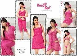 Satin Plain 1853 Rose 8 Pic Ladies Night Wear