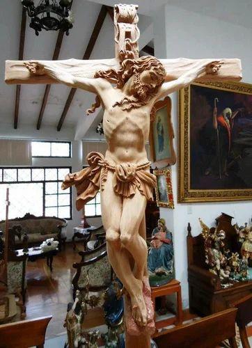 Multicolor Fiberglass Jesus Christ On The Cross Statue Id 6800089573