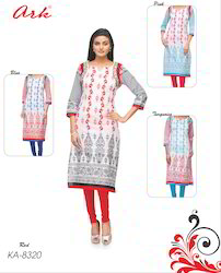 Multi Colour Printed Straight Cotton Kurti By Ark
