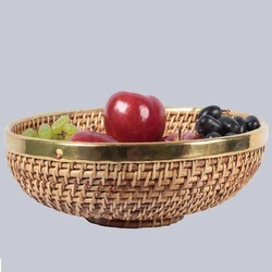 Round Fruit Wicker Bowl Basket