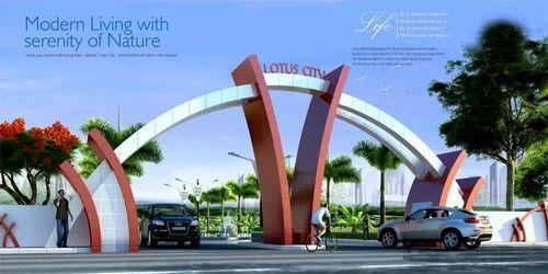 Modern entrance gate design for township for International decor gates