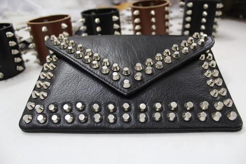 Hand Work Genuine Leather Studded Clutch