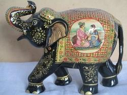 White Wood Hand Painted Elephant